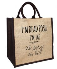 "Dead Posh Large Jute Bag -""tap ae the hill"""